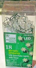Home Holiday Accents New Led Snow Flake String Lights 18 Ct