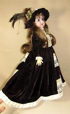 Antique reproduction Victorian doll dress Vintage velvet 3 pc set artist made