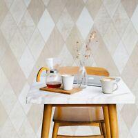 Wallpaper beige tan cream gold metallic Textured Modern diamond lines Tiles 3D