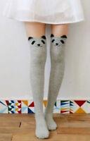 Chaussettes hautes montantes grises tête de raton laveur animal harajuku kawaii