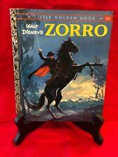 VINTAGE LITTLE GOLDEN BOOK WALT DISNEY'S ZORRO, 1958, 1st Ed, A letter