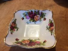 VINTAGE ROYAL ALBERT OLD COUNTRY ROSES SQUARE TRINKET BOWL  ENGLAND