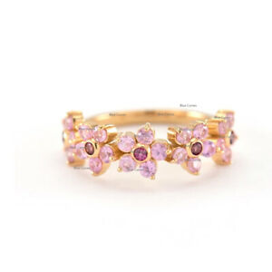 Rhodilite & Pink Sapphire Floral Eternity Diamond Ring Solid 14k Yellow Gold US7
