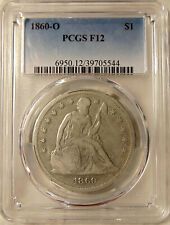 1860-O Liberty Seated Silver Dollar - PCGS F-12 Better Date - Nice Looking Coin