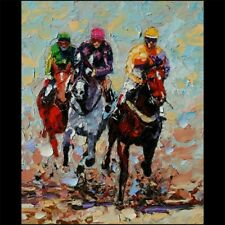 Start Of A Steeplechase Oil Painting HD Art Giclee Printed on Canvas P1101
