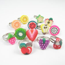 Wholesale 10pcs Polymer Clay Fruite Finger Rings For Kids Adjustable