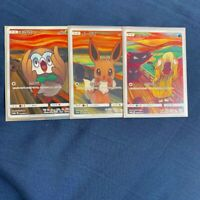 "Pokemon Card Munch ""The Scream"" Eevee Psyduck Rowlet Set of 3"