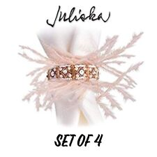Juliska Gala Feather Trimmed Bejeweled Napkin Rings Set Of 4 New