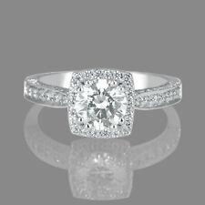 1 1/2 CT Elegant Enhanced Diamond Engagement Ring Round Cut H/SI1 14K White Gold