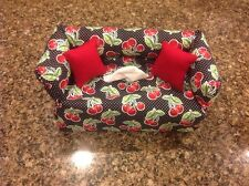Cherries Tissue Box Cover, Black With White Polka Dots, Red