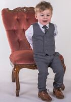 Boys Grey Waistcoat Suit, Boys Grey Suit, Baby Boys Suit Wedding Party Pageboy