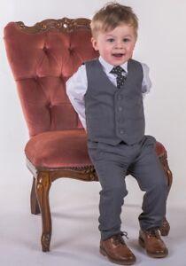 Boys Grey Waistcoat Suit, Boys Grey Suit, Baby Boys Suit Wedding Party Pageboy