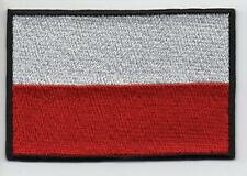 Poland Flag LARGE 7.5cm High Quality Embroided Iron On / Sew On Patch Badge