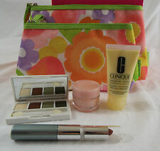 Clinique 7 Piece Compact, Lipstick, Mascara, DD Moisturizer, 2 Cosmetic Bags