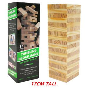 Building Blocks Toy Jenga Board Games Wood Tumbling Tower 17CM 54Pcs Family