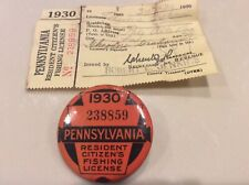 1930 Pa Fishing Licenses with Matching Paper