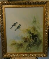 LARGE OIL PAINTING OF  BIRDS SIGNED, FRAMED BY J RONGDA?