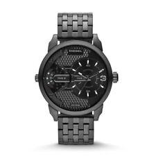 Diesel DZ7316 Men's Mini Daddy Dual Time Black IP Stainless Steel Bracelet