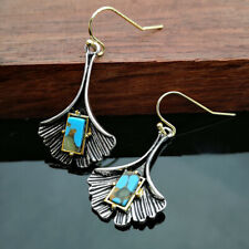 925 Silver Turquoise Women Handmade Dangle Drop Hook Earrings Jewelry Retro Gift
