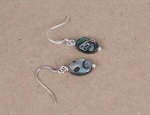 Paua Abalone Perlmutt 925 Silber  Ohrringe- 8 x 11 mm (SR-35)