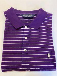 Polo Ralph Lauren Golf SS Polo Shirt Men's Large Supima Cotton Purple w Stripe