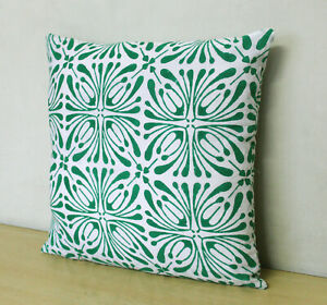 Cotton Cushion Cover 100% Block Printed Green White Floral Pillow Covers Throw