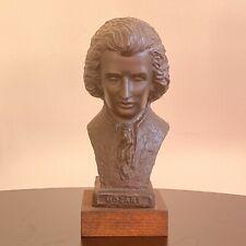 "Vintage Dark Resin Mozart Bust, Wooden Plinth - 7"" Classical Composer Ornament"
