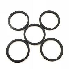 5x Strong Steel Solid Split Key Ring Black Metal Loop Flat Key Chain Holder 30MM