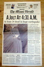 1994 headline display newspaper NORTHRIDGE EARTHQUAKE @ LOS ANGELES California