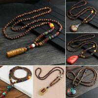 Retro Bodhi Wood Bead Pendant Necklace Women Men Long Sweater Chain Jewelry ca