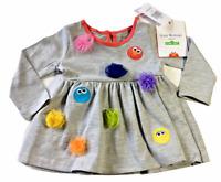 Isaac Mizrahi Loves Sesame Street Infant Girls Dress 3/6 Months Gray Pom Poms