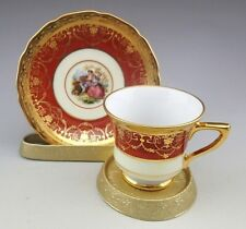 Vintage Bohemia Empire 24 K Gold Hand Decorated Demitasse Cup and Saucer