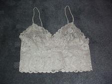 New: Petite Size: 14. Cheeky Latte/Dark-Beige Lace Design, Half Cami Singlet