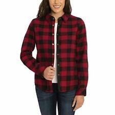 Orvis Women's Fleeced Lined Flannel Shirt Jacket Berry Black Buffalo Large L