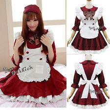 Japanische Lolita Maid Dienerin Cosplay Verkleidung Kostüm Kleid Rock wein-rot