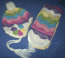 NWT Baby knitted beanie hat Polar fleece lined. WITH scarf.40cm around head.