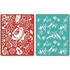 * Sizzix Textured Impressions Embossing Folders 2PK ~ BIRDS & BLOOMS SET  657393