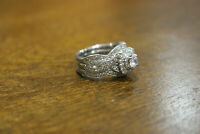 Real 10k White Solid Gold Engagement Ladies Wedding Band Bridal Ring Set Diamond