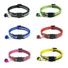 6 PCS Reflective Cat Collars Safety Quick Release Buckle With Bell Pet Cat #vy