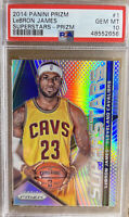 2014-15 PRIZM SILVER LEBRON JAMES PSA 10 GEM MINT Hall Of Fame Lakers