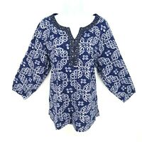 Croft & Barrow Top Blouse Shirt Womens 1X Blue Stud Beaded Neckline 3/4 Sleeve
