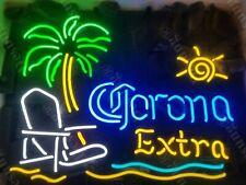 "Corona Extra Beach Chair Palm Tree Neon Light Sign 20""x16"" Beer Cave Bar Glass"