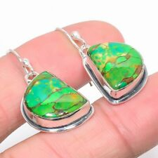 "Copper Mohave Green Turquoise Vintage 925 Sterling Silver Earring 1.4"" E744-49"