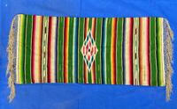 "Vintage Mexican Fringed Serape Saltillo Blanket  Diamond Center - 54"" x 18 1/2"""