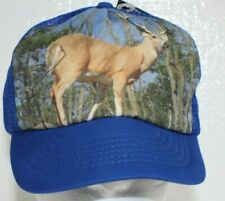 Deer buck Photo Hat Snapback Deadstock vintage blue mesh