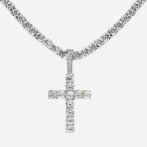 925 Sterling Silver CZ Studded silver Men Cuban Chain with Cross Pendant