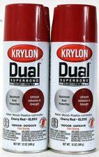 2 Krylon 12oz Dual Superbond 8805 Gloss Cherry Red Fast Dry Paint & Primer Spray