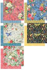 "Graphic45 Flutter 1x Double-Sided Cardstock 12X12"" versch. Motive Blumen 30,5 cm"