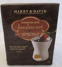 Fondue Set By Harry & David Chocolate Serves 4 Ceramic Heats with Tea Light