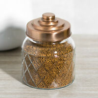 Glass Storage Jar Copper Lid Tea Coffee Sugar Canister Kitchen Food Container
